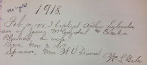 A baptism recorded and signed by Fr. William Gabe in the 1905-1965 sacramentral register of Saint Andrew's
