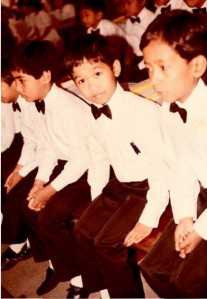 First Holy Communion on December 21, 1985 at Holy Rosary Parish Church in Angeles City, Philippines. From left to right: Enrico B. Liwanag, (now Fr.) Emmanuel F. Zamora, Gery M. Perez