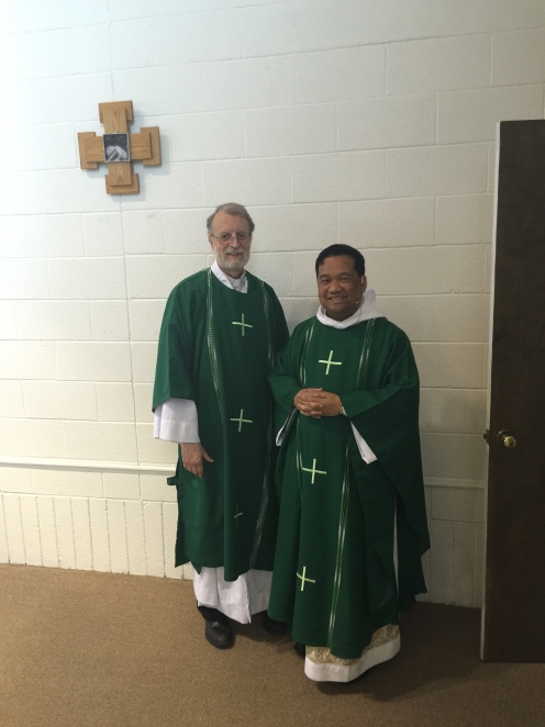 Fr. Noel Zamora and Deacon Daniel Connell wearing the new green vestments for Ordinary Time